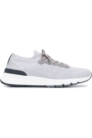 Brunello Cucinelli Men Sneakers - Knitted low-top sneakers - Grey