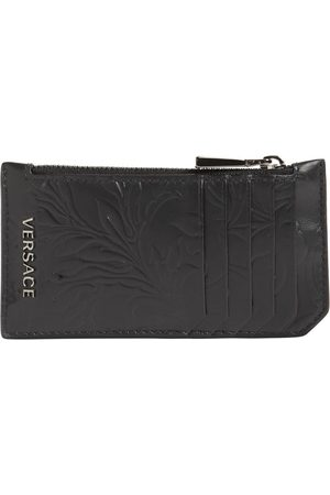 VERSACE Logo Baroque Leather Zip Card Holder