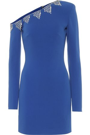 DAVID KOMA One-shoulder embellished cady minidress
