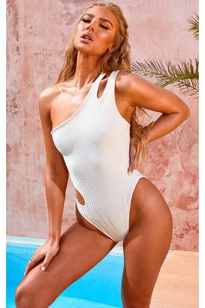 PRETTYLITTLETHING Nude Waffle Texture Cut Out Swimsuit