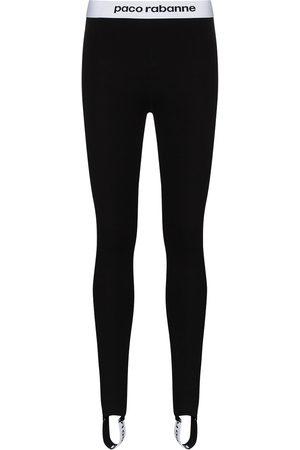 Paco rabanne Women Leggings - Contrast logo-stripe stirrup leggings
