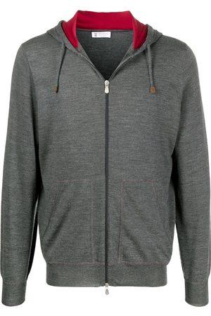 Brunello Cucinelli Men Hoodies - Fine knit hoodie - Grey