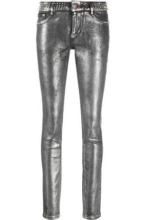 Philipp Plein Rockstud metallic jeggings - Grey