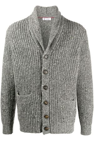 Brunello Cucinelli Men Cardigans - Shawl lapel chunky knit cardigan - Grey