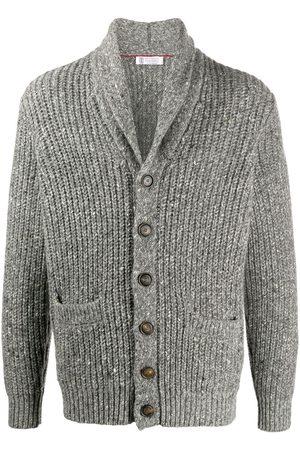Brunello Cucinelli Shawl lapel chunky knit cardigan - Grey