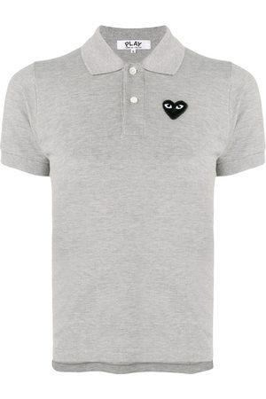 Comme des Garçons Women Polo Shirts - Heart patch polo shirt - Grey