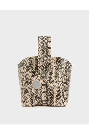CHARLES & KEITH Bags - Snake Print Mini Bucket Bag