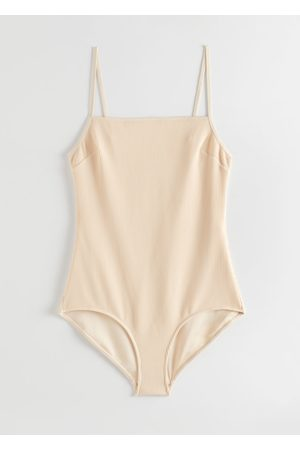 & OTHER STORIES Ribbed Square Neck Swimsuit