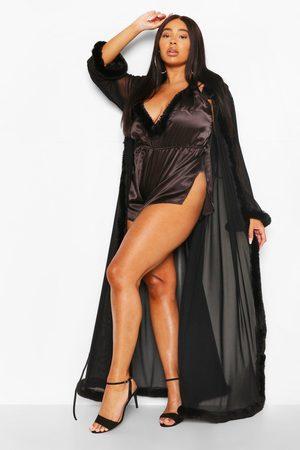 Boohoo Womens Plus Gemma Collins Kimono Robe With Fluffy Trim - - 2