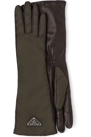 Prada Logo plaque long gloves