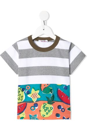 Familiar Contrast-panel printed T-shirt - GY
