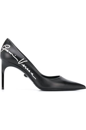 VERSACE Logo print 80mm pumps