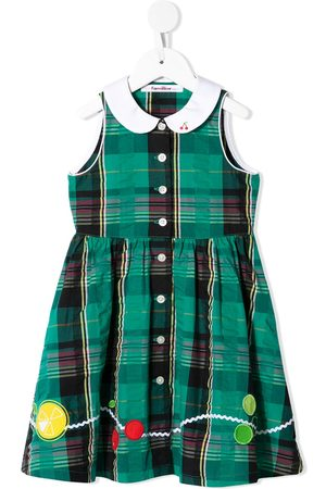 Familiar Embroidered-fruit plaid dress - GN