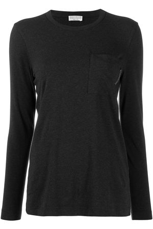 Brunello Cucinelli Women Long Sleeve - Long-sleeved T-shirt - Grey