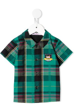 Familiar Embroidered logo plaid shirt