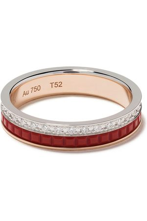 Boucheron 18kt white and yellow gold Quatre Red Edition red ceramic and diamond wedding band - PG WG