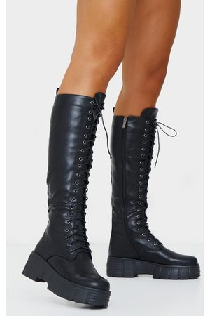 PRETTYLITTLETHING Knee High Lace Up Textured Sole Chunky Boots