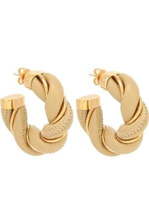 Bottega Veneta Plating and leather hoop earrings