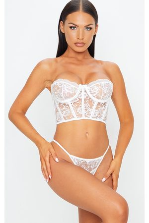 PRETTYLITTLETHING Women Lingerie Sets - Embroidered Lace Corset Underwired Lingerie Set