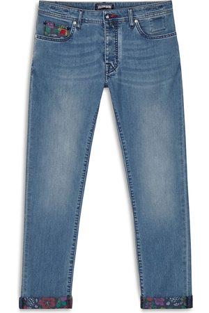 Vilebrequin Tropical Turtle Print Straight Fit Jeans in Medium Denim