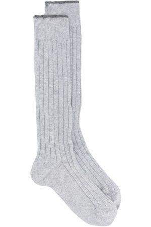 Brunello Cucinelli Men Socks - Ribbed high socks - Grey