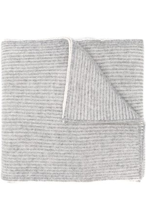 Brunello Cucinelli Men Scarves - Ribbed knit scarf - Grey