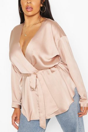 Boohoo Womens Plus Satin Wrap Top - - 12