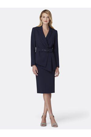 Tahari ASL Women Asymmetrical Skirts - Belted Asymmetric Jacket Skirt Suit Navy Size: 10 Crepe