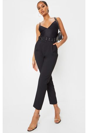PRETTYLITTLETHING Dual Buckle Belted Cigarette Pants