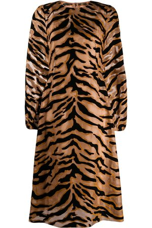 Dolce & Gabbana Tiger print sheer dress - Neutrals