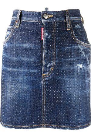 Dsquared2 Women Denim Skirts - Crystal-embellished denim skirt