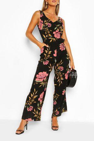 Boohoo Womens Floral Print Split Hem Sleeveless Jumpsuit - - Xs