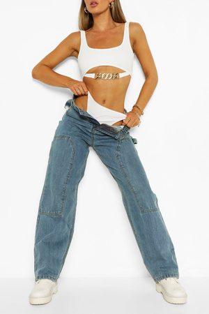 Boohoo Womens High Rise Utility Dad Jeans - - 10