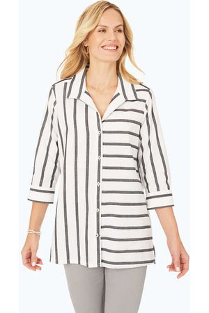 Foxcroft Santino Petite Fleck Stripe Tunic