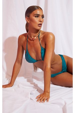 PRETTYLITTLETHING Teal Ruched Cup Padded Triangle Bikini Top