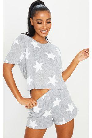 PRETTYLITTLETHING Grey and Star Print Short PJ Set