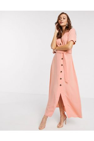Y.A.S Women Maxi Dresses - Maxi dress with button through and tie waist in coral