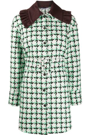 Msgm Single-breasted check tweed coat
