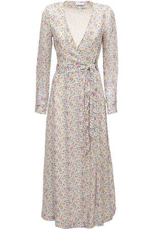 Ganni Printed Georgette Wrap Dress