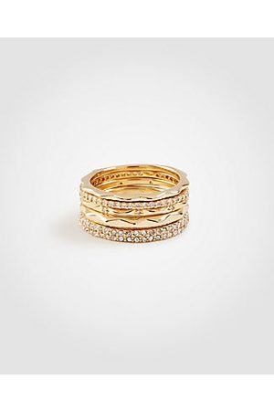 ANN TAYLOR Crystal Stacked Ring Set Size 6 Women's
