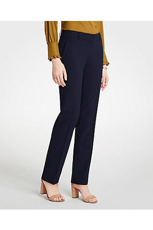 ANN TAYLOR The Straight Pant In Seasonless Stretch Size 0 Perfect Navy Women's