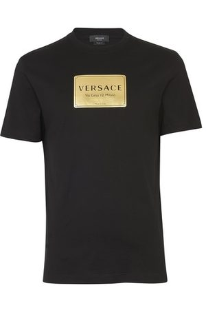 VERSACE Golden plaque logo short-sleeve T-shirt