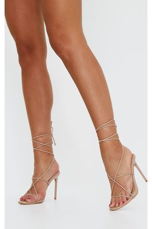 PRETTYLITTLETHING Nude Square Toe Lace Up Heeled Sandals