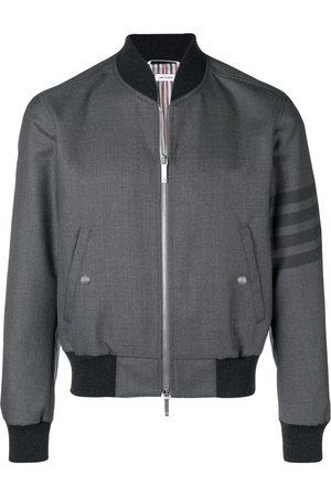 Thom Browne Men Bomber Jackets - 4-Bar Ribbed Knit Blouson Jacket - Grey