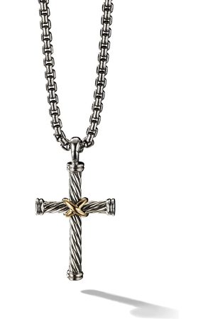 David Yurman Men Necklaces - Silver and 18kt yellow gold Cable Cross Enhancer pendant - S8