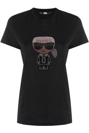 Karl Lagerfeld Women T-shirts - Ikonik rhinestone Karl T-Shirt