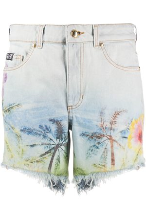 VERSACE Palm-print denim shorts