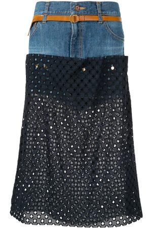 Kolor Women Denim Skirts - Perforated jean skirt
