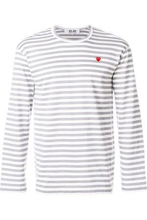 Comme des Garçons Striped heart logo T-shirt - Grey