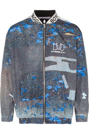 DUOltd Logo band print bomber jacket